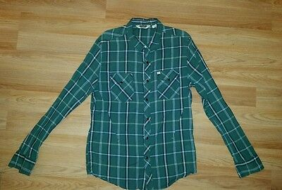 Salt Valley western green plaid shirt size large