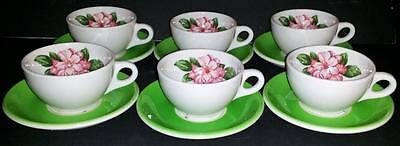 6 Greenbrier Hotel C&o Railroad Owned Syracuse China Cups & Saucers Rhododendron