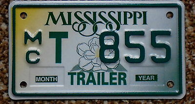MISSISSIPPI Magnolia Flower Rare Motorcycle Trailer License Plate MCT 855