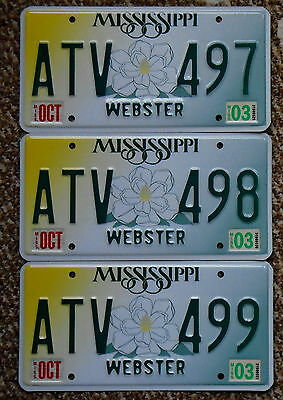 MISSISSIPPI Magnolia Webster County License Plate Sequential Number Lot of 3 ATV