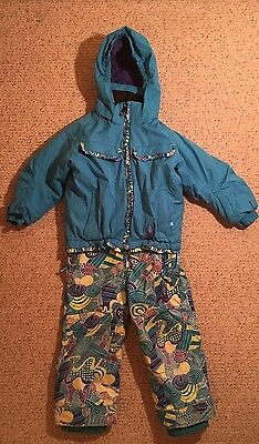 Spyder Ski Girls Snow Suit Bib Pants AND Jacket Size 4 Blue Small To Tall