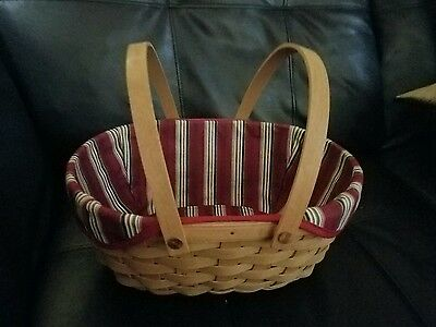 Longaberger 2004 Get Together Basket with swing handles and fabric liner