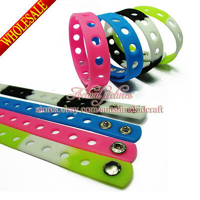 14pcs skinny wristbands,silicone hand ring Fit Shoe Charms,18cm Bracelets Bangle