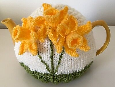 Hand Knitted Tea Cosy With Daffodils