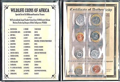 16 Different African Nations Wildlife Coins Certificate of Authenticity,Album