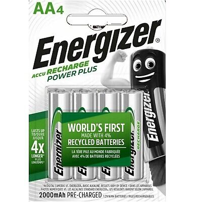 4 x ENERGIZER AA 2000 mAH POWER PLUS Rechargeable Batteries ACCU 2000