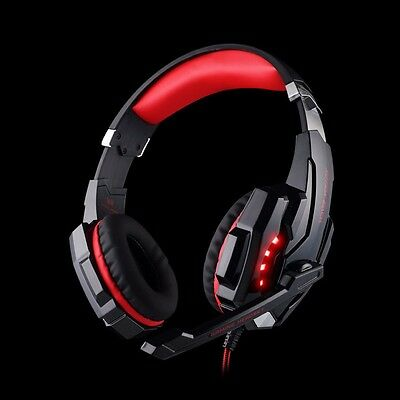 Gaming MIC LED Light Headset CellPhone Headphone For PS4 Xbox One 3.5mm RED Wire
