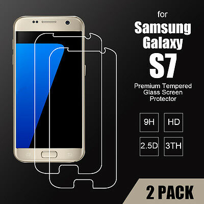 2pcs Genuine Premium Tempered Glass Film Screen Protector For Samsung Galaxy S7