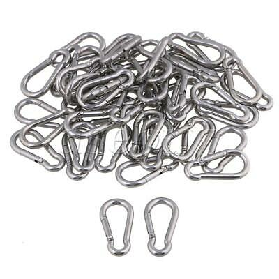 50pcs Carabiner Spring Snap Hook Clip M4 40mm 304 Stainless Steel