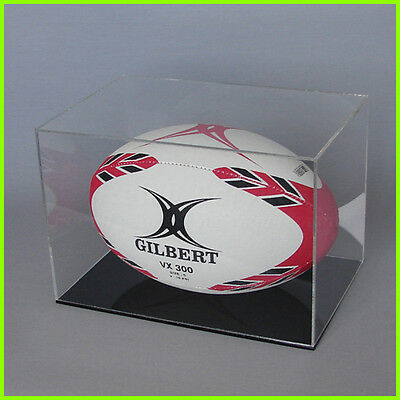 RUGBY BALL DISPLAY CASE Full size 5 ball CLEAR BLACK/ WHITE Acrylic Perspex