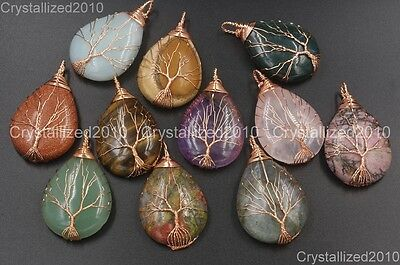 Natural Gemstones Tree Life Drop Reiki Chakra Healing Pendant Beads Rose Gold