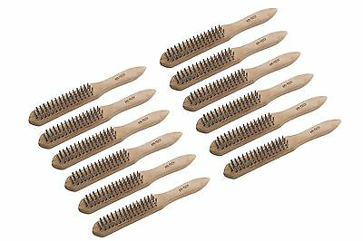 12Pc 4 Row Heavy Duty Wire Brush Mechanics DIY Engineers Remove Rust Paint Scale