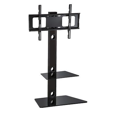 Cantilever Black 2 Shelf Glass Stand with Swivel Bracket for 30-55 Inch LCD TV