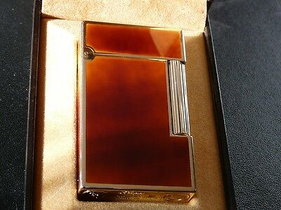 S T Dupont Line 2 Large Brown Lacquer with Gold Trim - Boxed - Excellent