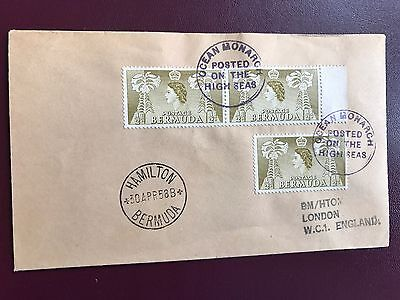 1958 Ocean Monarch Packet Boat Cancel On Bermuda Stamps