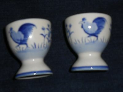 2 Vintage Handpainted Blue & White Egg Cups with makers mark & cockerel design.