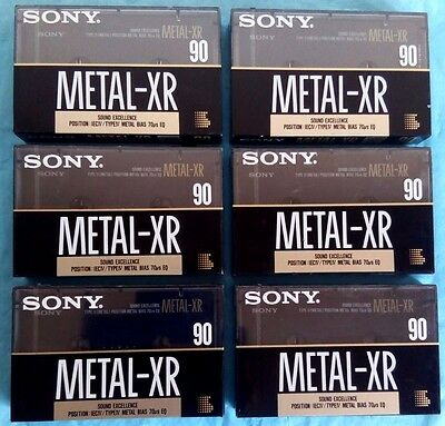 6x SONY METAL XR 90 [1990-92] Blank Audio Cassette Tapes NEW sealed