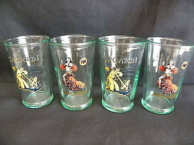 4 BACARDI GLASS Rum 150 Years glass HIGHBALL TUMBLER LIMITED EDITION BICCHIERE