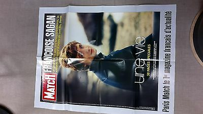 collector affiche paris match grd format   MORT FRANCOISE SAGAN 2004 port offert