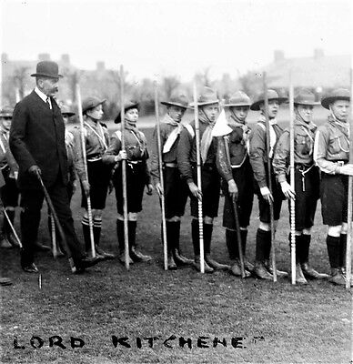 Photographic Glass Slide Lord Kitchener Inspects Scouts Nottingham 1912 Superb!