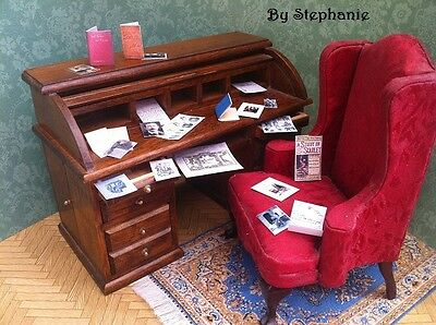 Victorian Dolls House Miniatures Repro 1/12th Hand Made Sherlock Holmes Set