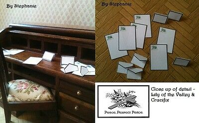 Victorian Dolls House Miniatures Repro 1/12th HandMade Mourning Stationery Set
