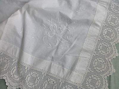 Antique Edwardian style embroidered whitework crochet lace tea tablecloth