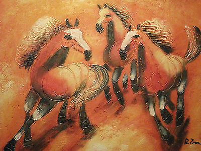 abstract wild horses large oil painting canvas modern contemporary orange art