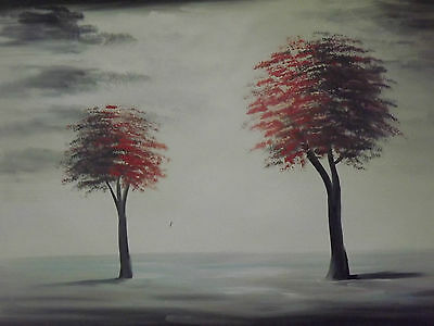 minimal red trees large oil painting canvas black white original abstract modern