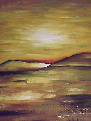 abstract minimal sun set yellow large oil painting canvas contemporary original