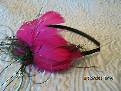 NEW ladies fascinators head band hand-made large neon pink,