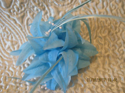 NEW ladies fascinators sky blue can be worn on head and jacket