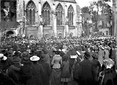 PHOTOGRAPHIC GLASS NEGATIVE NORWICH CATHEDRAL NELSON'S OLD SCHOOL c1910 FABULOUS