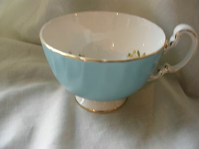 Aynsley Blue Bone China Cup With Floral Pattern