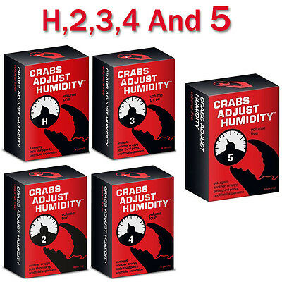 Crabs Adjust Humidity Vol 1,2,3,4 and 5 Cards Against Humanity Expansion New AUS
