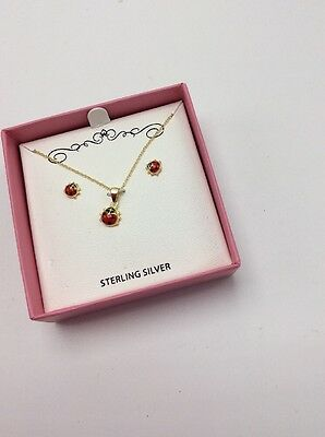 $100 Children Jewelry Enamel  Ladybug Necklace & Earrings Gold Played Sterling