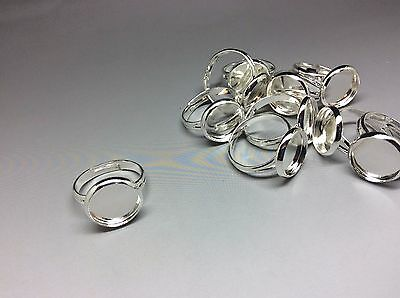 10 pcs Silver Tone Ring Base Blanks 12mm Tray Setting Blank Add own cabochons
