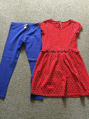 Girls NEXT Blue Leggings and Red Spot Tunic - Age 9 Years