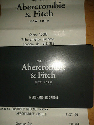 Abercrombie & Fitch Gift Card £137