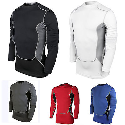 Men Tight Body Armour Compression Base layer Shirts Thermal Undershirt Sport Set