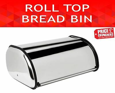 Bread Bin Kitchen Food Storage Container Loaf Box Roll Over Top Steel Silver