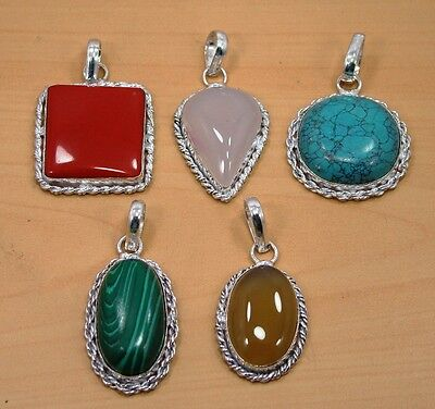 Wholesale Lot 5Pc 925 Silver Plated Turquoise & Mix Stone Designer Big Pendant