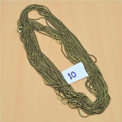 WHOLESALE 10PC SOLID BRASS PLAIN CHAIN NECKLACE JEWELRY LOT L- 30 (98.4 g.)