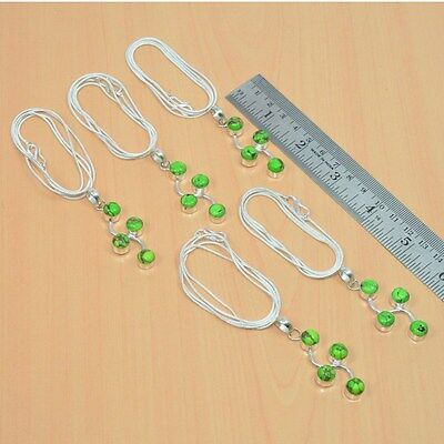 Wholesale 5Pc 925 Silver Plated Green Copper Turquoise Nice Pendant-Chain Lot