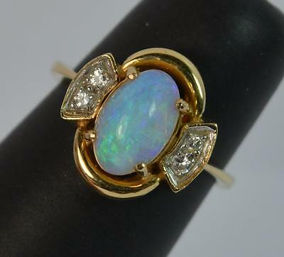 Gorgeous Opal and Diamond 18ct Gold Ring d0705