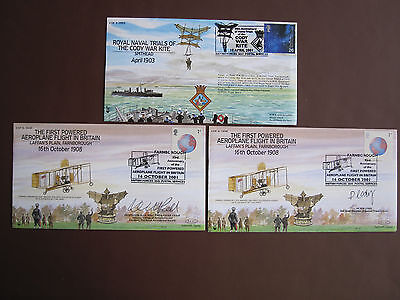 93rd Anniv First Powered Aeroplane Flight in Britain - 2 signed covers + other