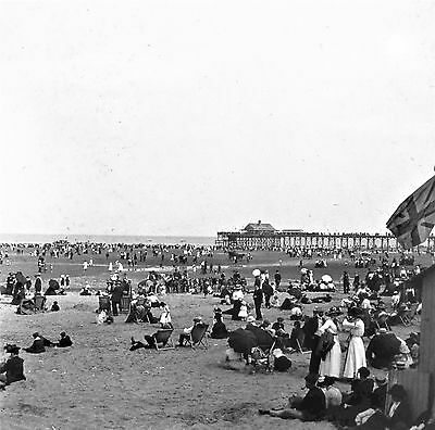 Photographic Glass Stereo Slide  Cleethorpes Beach & Pier August 7Th 1911