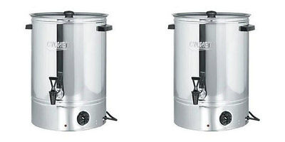 2 x Burco 10 Litre Hot Water Urns Tea / Catering Counter Boilers Stainless Steel