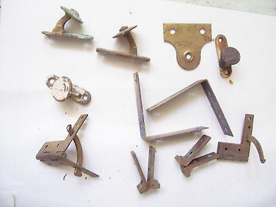 x 11 Various Late Victorian Furniture Fixings Hinges Brackets Etc