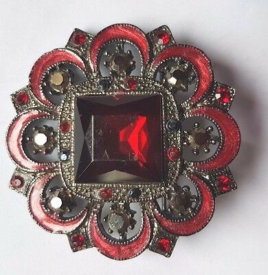 Antique  Georgian C1790  Enamel and Red Paste  Pin Brooch